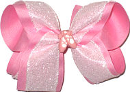 Large Pink with White Crackle Ribbon and Pink Slippers