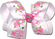 Large Bow Ballet Slippers and Bouquets on White