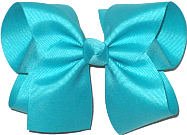 Large Solid Color Bow Blue Lagoon