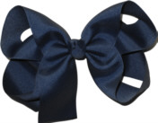 Large Solid Color Bow Blueberry