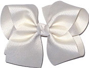 Downsized Large Solid Color Bow Antique White