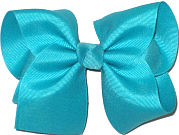 Downsized Large Solid Color Bow Blue Lagoon