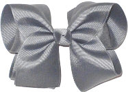 Downsized Large Solid Color Bow Gray