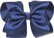 Downsized Large Solid Color Bow Light Navy