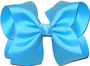 Downsized Large Solid Color Bow Mystic Blue