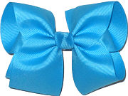 Downsized Large Solid Color Bow Turquoise