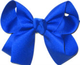 Medium Solid Color Bow Electric Blue