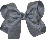 Medium Solid Color Bow Flannel Gray