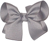 Medium Solid Color Bow Gray