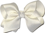Toddler Solid Color Bow Antique White