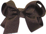 Small Solid Color Bow Brown
