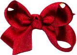 Small Solid Color Bow Cranberry
