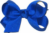 Small Solid Color Bow Electric Blue