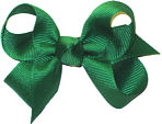 Small Solid Color Bow Emerald
