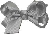 Small Solid Color Bow Grey