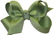 Small Solid Color Bow Spring Moss