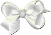 Small Solid Color Bow White