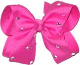 Large Raspberry Rose Jeweled Bow