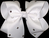 Large White Jeweled Bow