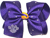 Large Crystal Paw on Regal Purple with Yellow Gold Knot and Swarovski Crystals Bow
