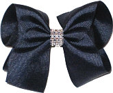 Navy Large Bow with Clear Jewel Band