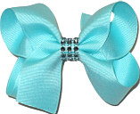 Aqua Medium Bow with Colored Jewel Band