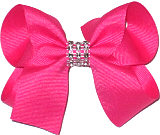 Shocking Pink Medium Bow with Clear Jewel Band
