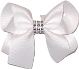 White Medium Bow with Clear Jewel Band