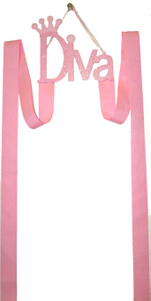 Pink Diva glitter metal plaque with two 40'' long ribbon strips. Good for Baby to Large Bows