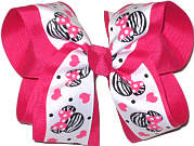 Large Minnie Print with Pink Hearts over Shocking Pink Grosgrain