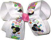 Large Mickey and Minnie Party Ribbon over White Grosgrain with Hot Pink Knot