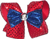 Large Snow White with Red Sequin and Blue Glitter Ribbon