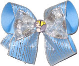 Large Cinderella with Light Blue and Silver Stripe Ribbon