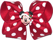 Large Mickey Christmas Bow. Mickey on removable pin-back so bow can be used after Christmas.