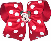 MEGA Mickey Christmas Bow. Mickey on removable pin-back so bow can be used after Christmas.