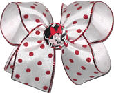 Minnie Bow with Red Glitter Edge and Red Glitter Dot