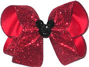 Large Red Glitter with Black Glitter Mickey Pin
