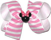 Medium Minnie White with Hot Pink Stripes