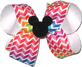 Medium Bow with Black Glitter Mickey Pin