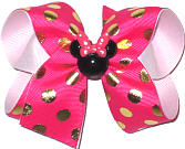 Medium Shocking Pink with Gold Dots and Minnie Minature