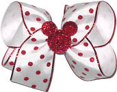 Medium Red Glitter Dot with Red Sparkle Minnie Miniature over White