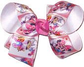 Medium Minnie Mouse and Daisy Duck with Swarovski Crystals Double Layer Overlay Bow