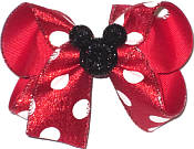 Medium Red Glitter with White Dots and Black Glitter Mickey Pin Double Layer Overlay Bow