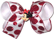 Medium White with Red Glitter Dots and Minnie Miniature Double Layer Overlay Bow
