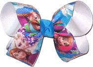 Medium Elsa and Anna over White Double Layer Overlay Bow