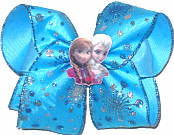 Large Elsa and Anna with Snowflake Glitter Chiffon over Mystic Blue Double Layer Overlay Bow