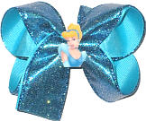 Medium Blue Glitter over Turquoise with Sleeping Beauty Miniature Double Layer Overlay Bow