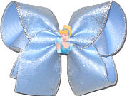 Large Silver Glitter Chiffon over Millenium Blue with Sleeping Beauty Miniature
