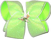 Large White Glitter Mesh over Neon Lime with Tinkerbell Miniature Double Layer Overlay Bow