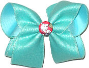 Large Aqua Shimmering Ribbon over Lucite with Ariel Miniature
